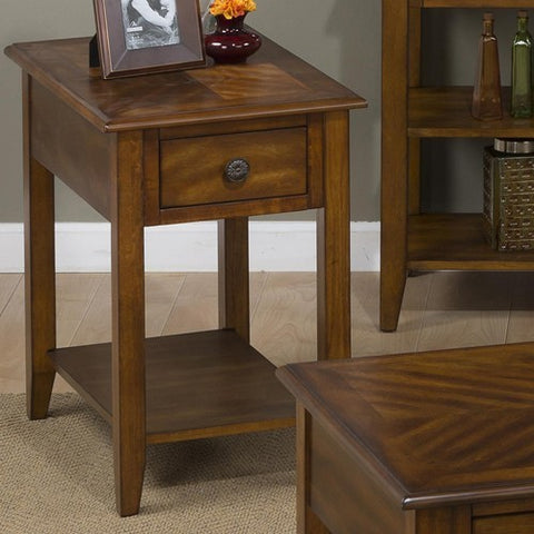 Jofran 1031-7 Chairside Table w/ Bookmatch Inlay & Quarter Round Edge
