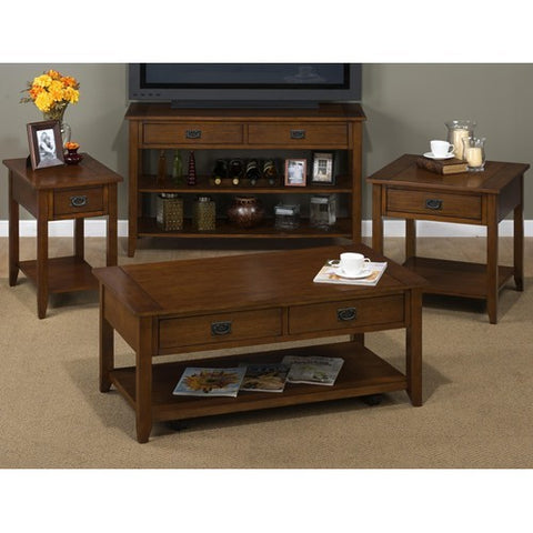 Jofran 1032-1 4 Piece Coffee Table Set w/ Black Mission Hardware