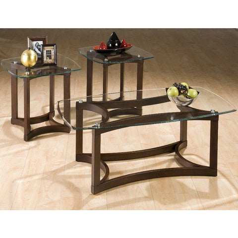 Jofran 107 Bellingham Brown 3 Piece Glass Top Occasional Table Set