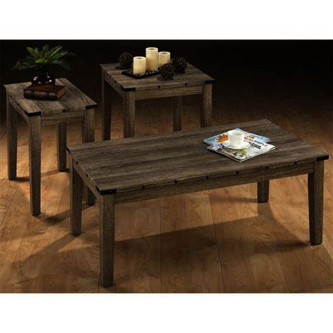 Jofran 138 3 Piece Coffee Table Set in Mission Oak