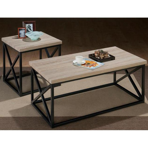Jofran 172 3 Piece X-Side Coffee Table Set w/ Ash Veneer Top & Grey Metal Base