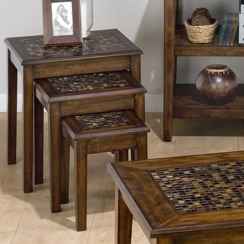Jofran 698-7 Baroque Brown Nesting Chairside Table