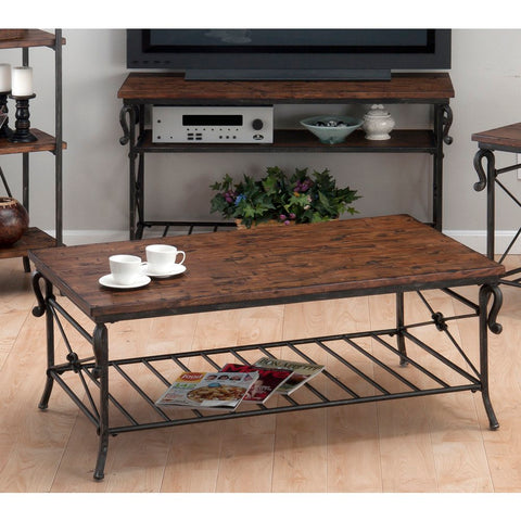 Jofran 772-1 Rutledge Cocktail Table w/ Metal Slat Shelf in Distressed Rustic Pine