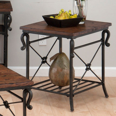 Jofran 772-3 Rutledge End Table w/ Metal Slat Shelf in Distressed Rustic Pine