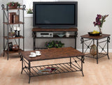 Jofran 772-4 Rutledge Sofa/ Media Table w/ Wooden & Metal Slat Shelves in Distressed Rustic Pine