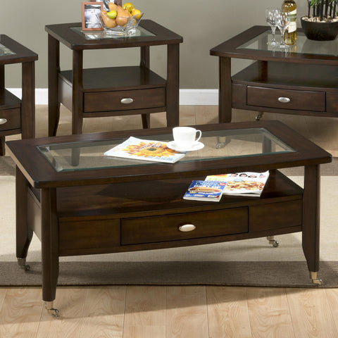 Jofran 827-1 Chrome Castered Rectangle Cocktail Table w/Pull-Thru Drawer & Glass Insert