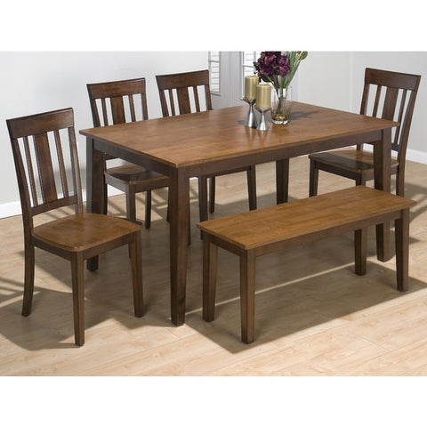 Jofran 875 Kura Espresso Canyon Gold 6 Piece 60 Inch Dining Room Set