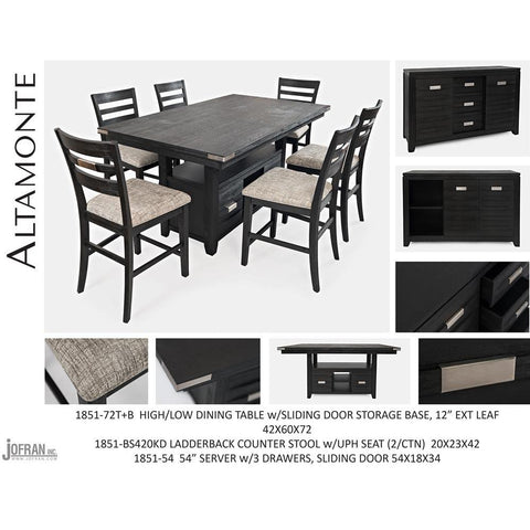 Jofran Altamonte Counter Height Dining Table with Ladderback Stools in Dark Charcoal Grey