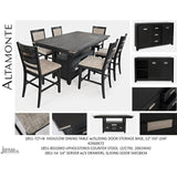 Jofran Altamonte Counter Height Dining Table with Upholstered Stools in Dark Charcoal Grey