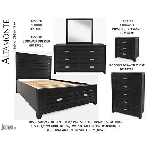 Jofran Altamonte Panel Bedroom Set in Dark Charcoal Grey