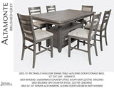 Jofran Altamonte Rectangle Counter Height Dining Set in Brushed Grey