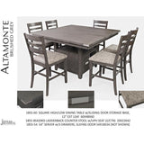 Jofran Altamonte Square Counter Height Table with Ladderback Stools in Brushed Grey