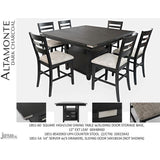 Jofran Altamonte Square Counter Height Table with Ladderback Stools in Dark Charcoal Grey