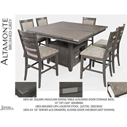 Jofran Altamonte Square Counter Height Table with Upholstered Stools in Brushed Grey