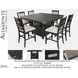 Jofran Altamonte Square Counter Height Table with Upholstered Stools in Dark Charcoal Grey