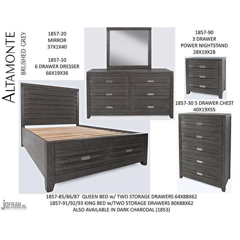 Jofran Altamonte Storage Bedroom Set in Brushed Grey