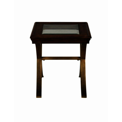 Jofran Ashlend Pine End Table w/Glass Insert