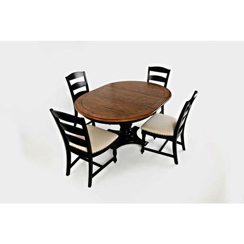 Jofran Castle Hill 5 Piece Round to Oval Dining Room Set in Antique Black & Oak