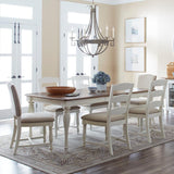 Jofran Castle Hill 5 Piece Round to Oval Dining Room Set in Antique White & Oak