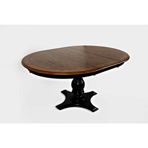 Jofran Castle Hill Round to Oval Dining Table in Antique Black & Oak