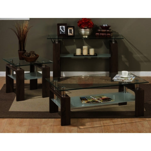 Jofran Compass 3 Piece Rectangle Coffee Table Set w/ Glass Top
