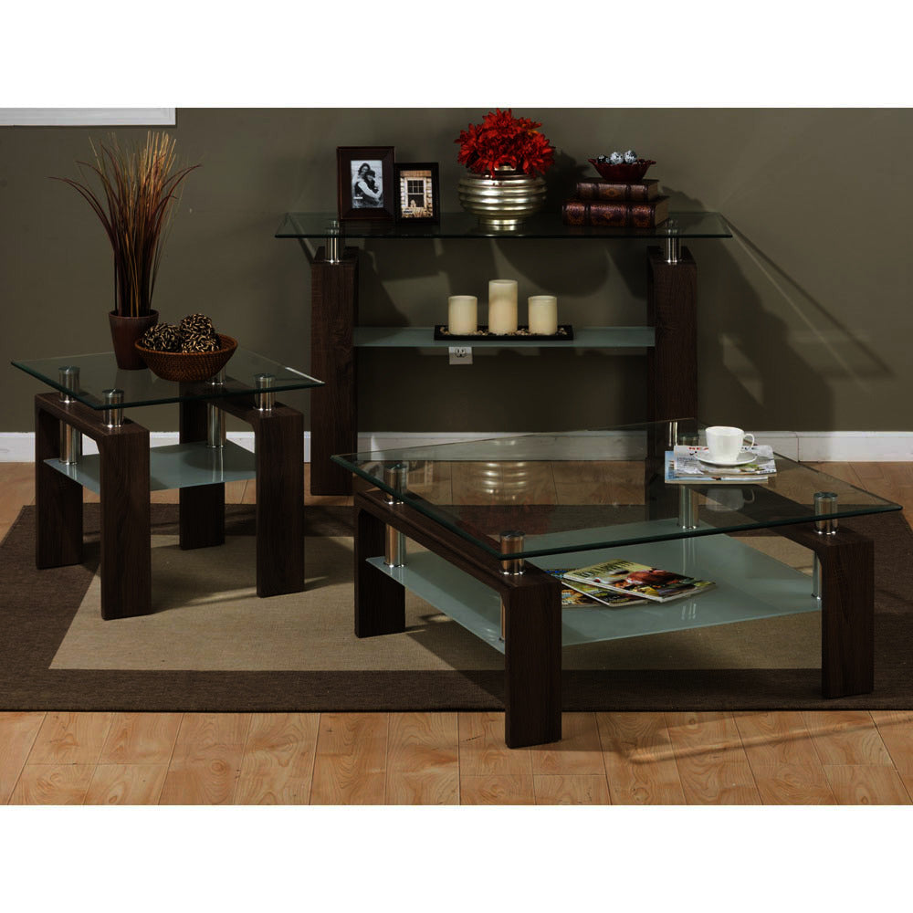 Square Coffee Table Glass Top.Jofran Compass 3 Piece Square Coffee Table Set W Glass Top