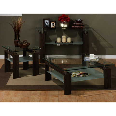 Jofran Compass 3 Piece Square Coffee Table Set w/ Glass Top