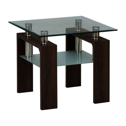Jofran Compass End Table w/ Glass Top