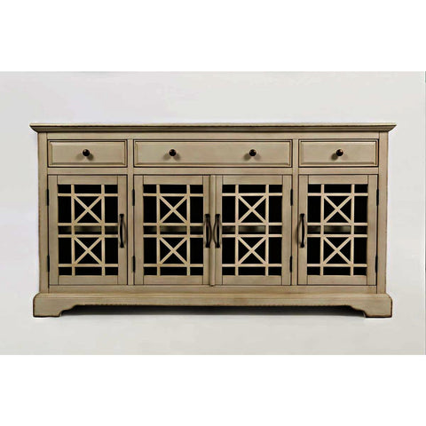Jofran Craftsman 60 Inch Media Unit Complete in Antique Cream
