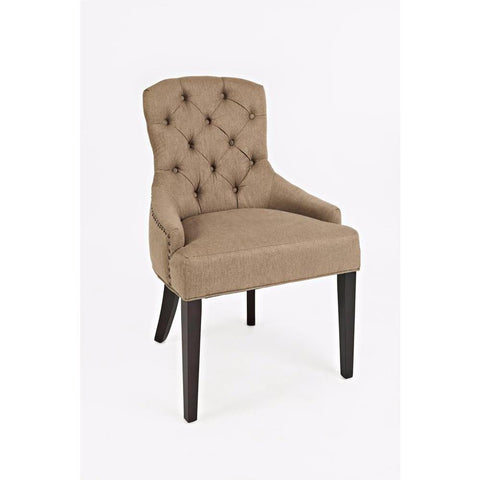 Jofran Geneva Hills Upholstered Side Chair w/Tufted Back in Chestnut