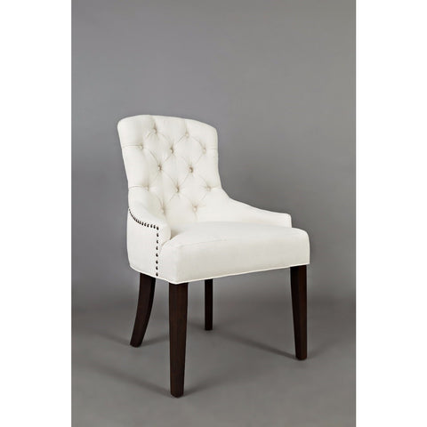 Jofran Geneva Hills Upholstered Side Chair w/Tufted Back in Ivory