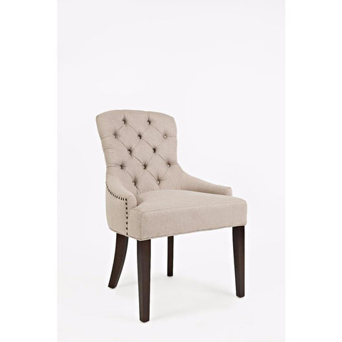 Jofran Geneva Hills Upholstered Side Chair w/Tufted Back in Taupe