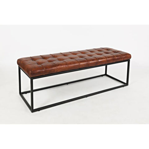 Jofran Global Archive Leather Ottoman in Saddle