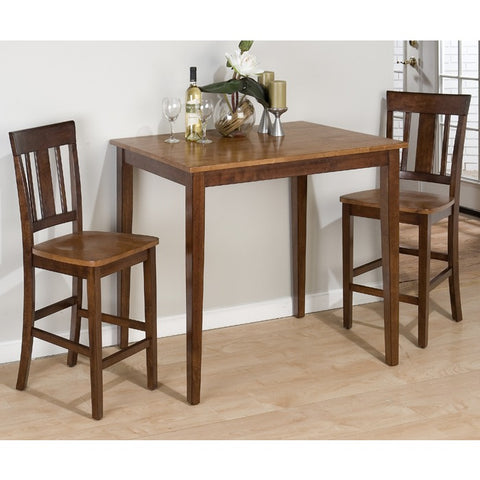 Jofran Kura Espresso Canyon Gold 3 Piece Fixed Top Counter Height Set