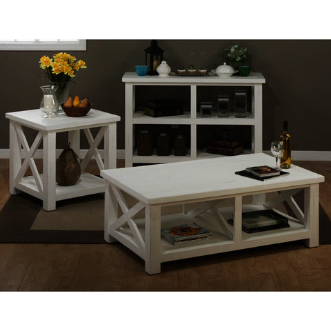 Jofran Madaket 3 Piece Coffee Table Set in White