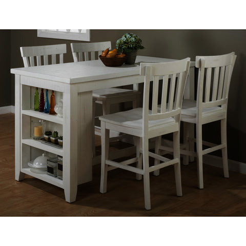 Jofran Madaket 5 Piece Counter Height Table Set in White