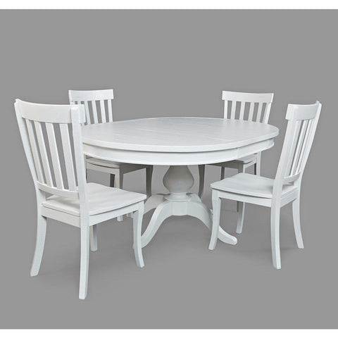 Jofran Madaket 5 Piece Round To Oval Dining Room Set in White