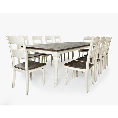 Jofran Madison County 11 Piece Rectangle Extension Dining Room Set in Vintage White