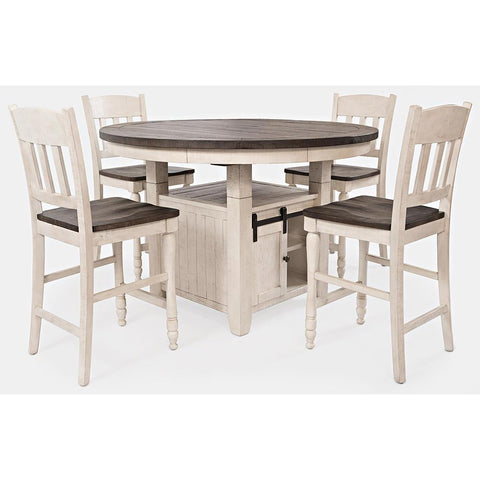 Jofran Madison County 5 Piece Round Counter Height Table Set in Vintage White