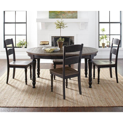 Jofran Madison County 5 Piece Round to Oval Dining Room Set in Vintage Black