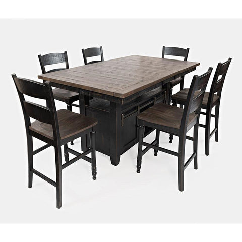 Jofran Madison County 7 Piece Counter Height Table Set in Vintage Black