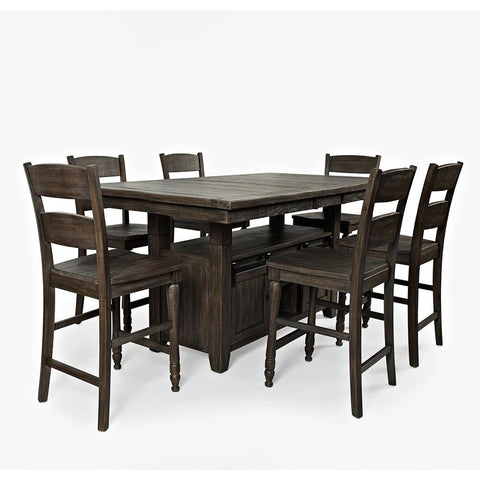Jofran Madison County 7 Piece High/Low Dining Room Set in Barnwood
