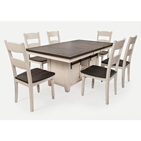 Jofran Madison County 7 Piece High/Low Dining Room Set in Vintage White