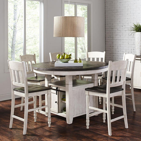 Jofran Madison County 7 Piece Round Counter Height Table Set in Vintage White