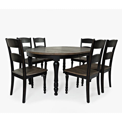 Jofran Madison County 7 Piece Round to Oval Dining Room Set in Vintage Black