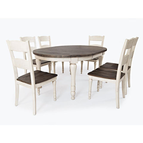 Jofran Madison County 7 Piece Round to Oval Dining Room Set in Vintage White