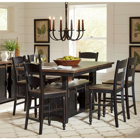 Jofran Madison County 8 Piece Counter Height Table Set in Vintage Black
