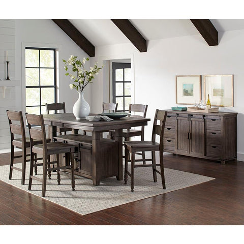 Jofran Madison County 8 Piece High/Low Dining Room Set in Barnwood