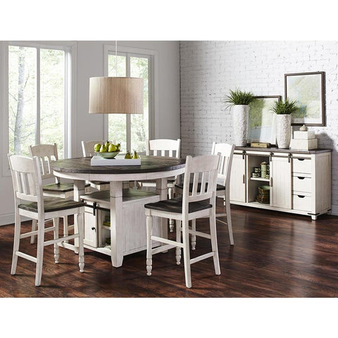 Jofran Madison County 8 Piece Round Counter Height Table Set in Vintage White