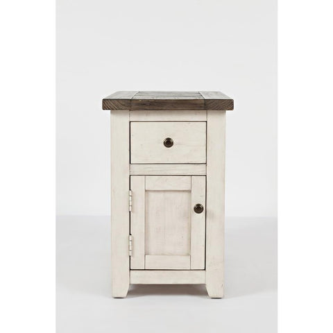 Jofran Madison County Chairside Table in Vintage White